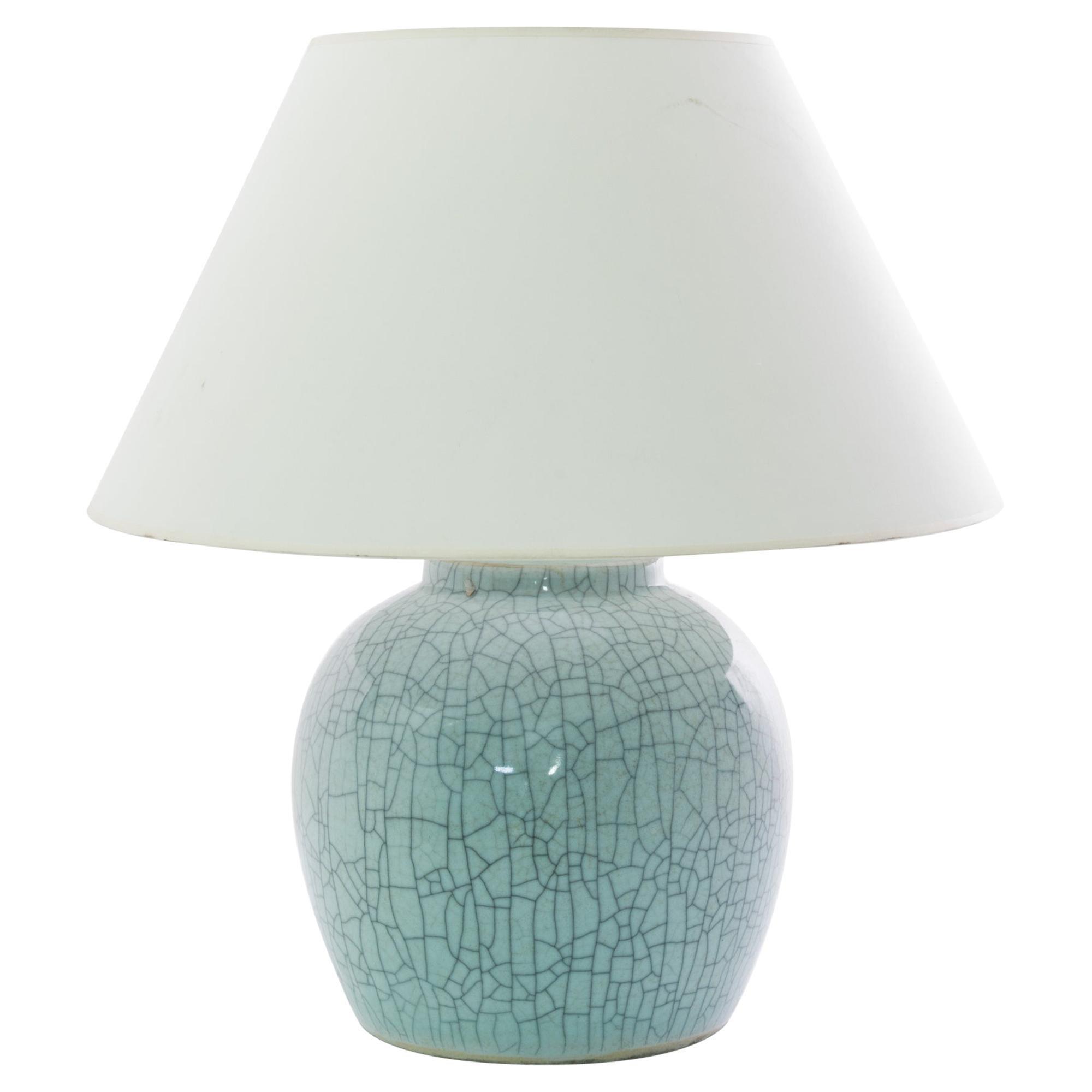 Antique Chinese Crackled Celadon Ceramic Vase Table Lamp