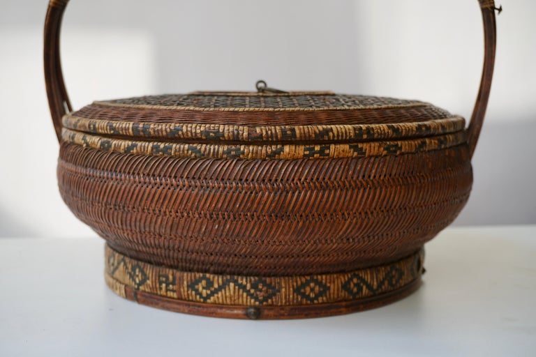 Antique Chinese Daoguang Handwoven Bamboo and Rattan Basket, 19th Century 3