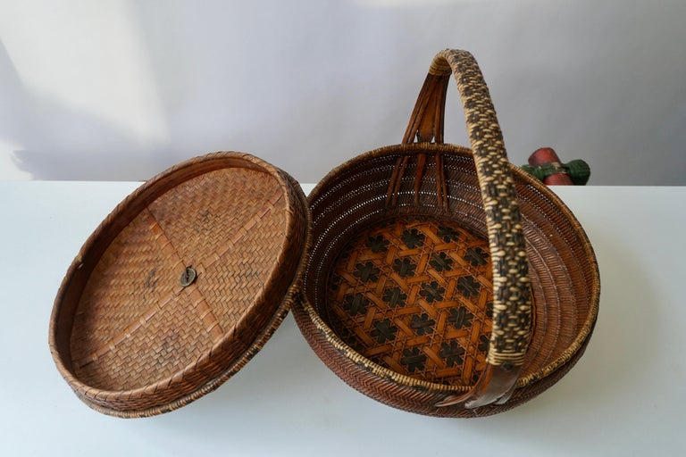 Metal Antique Chinese Daoguang Handwoven Bamboo and Rattan Basket, 19th Century