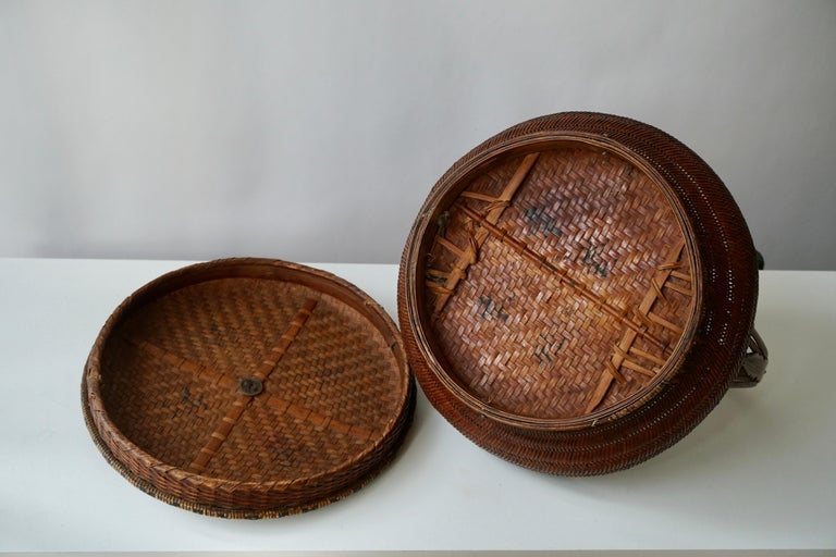 Antique Chinese Daoguang Handwoven Bamboo and Rattan Basket, 19th Century 1