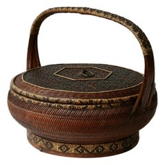 Antique Chinese Daoguang Handwoven Bamboo and Rattan Basket, 19th Century