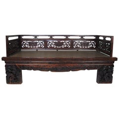 Antique Chinese Daybed with Hand Carved Railing