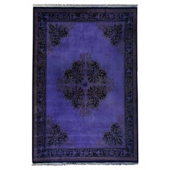 Antique Chinese Deco Overdyed Purple Rug