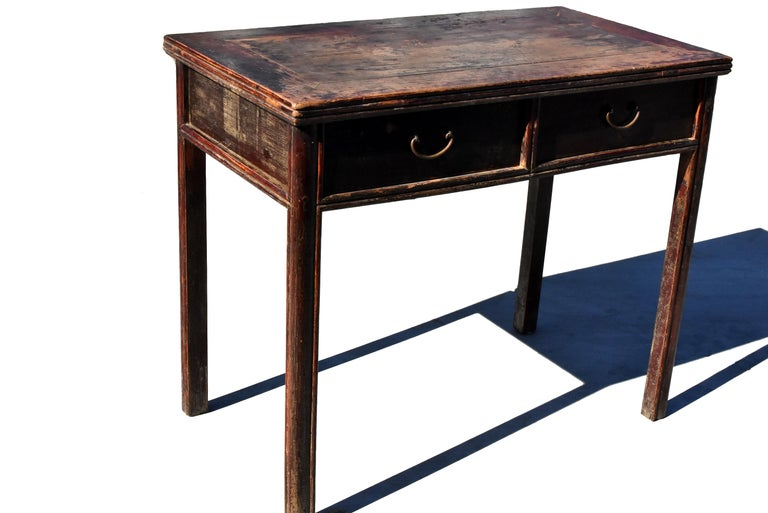 Antique Chinese Desk Ming Style Table Two Drawers For Sale 6