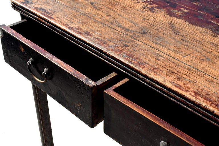 Antique Chinese Desk Ming Style Table Two Drawers For Sale 10