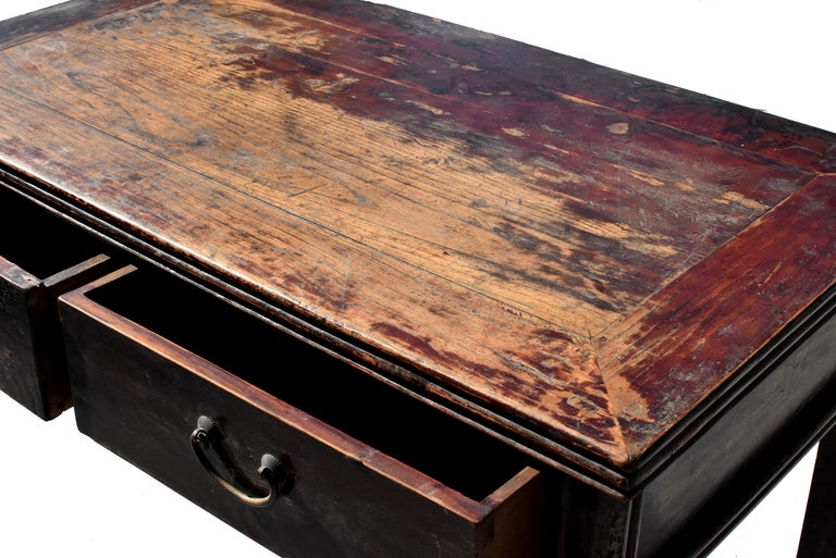 Antique Chinese Desk Ming Style Table Two Drawers For Sale 11