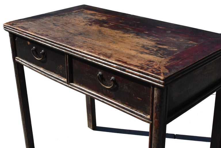 Antique Chinese Desk Ming Style Table Two Drawers In Good Condition For Sale In Somis, CA