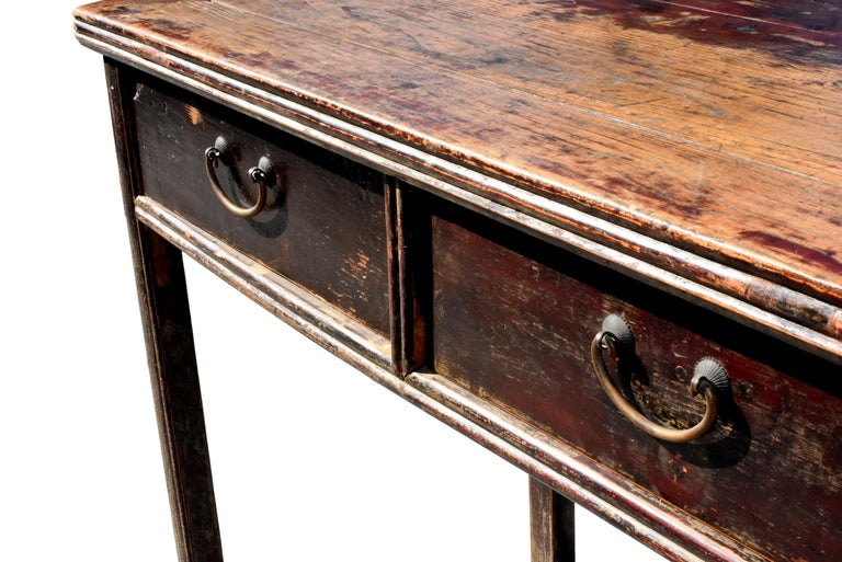 19th Century Antique Chinese Desk Ming Style Table Two Drawers For Sale