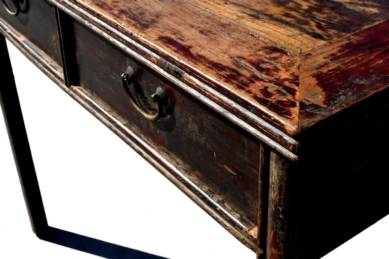 Antique Chinese Desk Ming Style Table Two Drawers For Sale 2