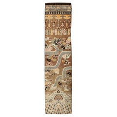 Antique Chinese Ningxia Pillar Carpet Runner with Dragon Pictorial