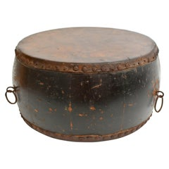 Antique Chinese Drum with Maker's Mark and Wealth God Stamp