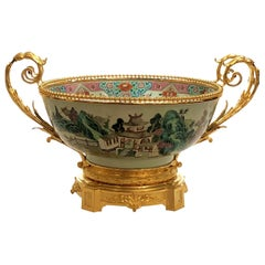 Antique Chinese Early 19th Century Porcelain Centerpiece Bowl with Ormolu Mounts
