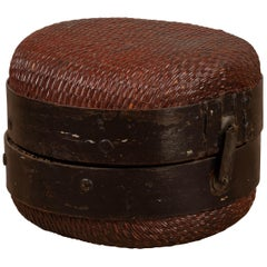 Antique Chinese Early 20th Century Rattan Hat Box with Weathered Patina