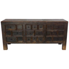 Antique Chinese Elm Chest with Ten Drawers