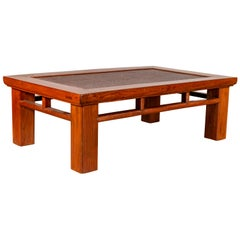Antique Chinese Elm Coffee Table with Square Legs and Rattan Inset Top