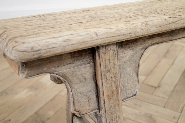 Antique Chinese Elm Wood Bench For Sale 6