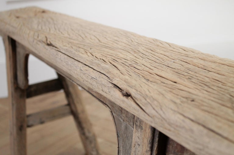Antique Chinese Elm Wood Bench For Sale 7
