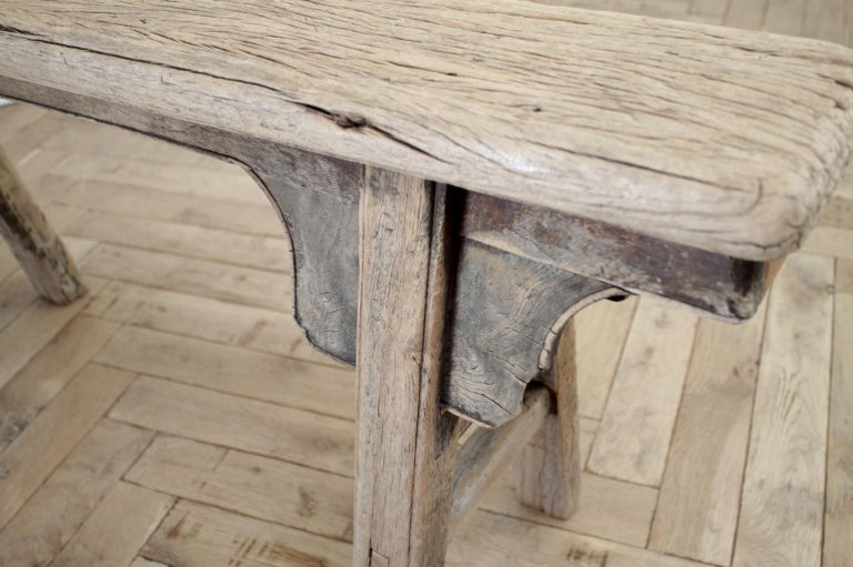 Antique Chinese Elm Wood Bench For Sale 8