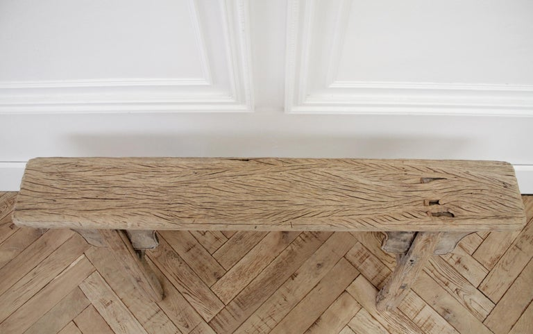 Antique Chinese Elm Wood Bench For Sale 1