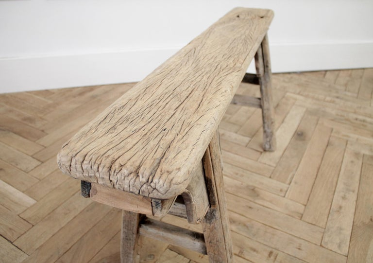 Antique Chinese Elm Wood Bench For Sale 2
