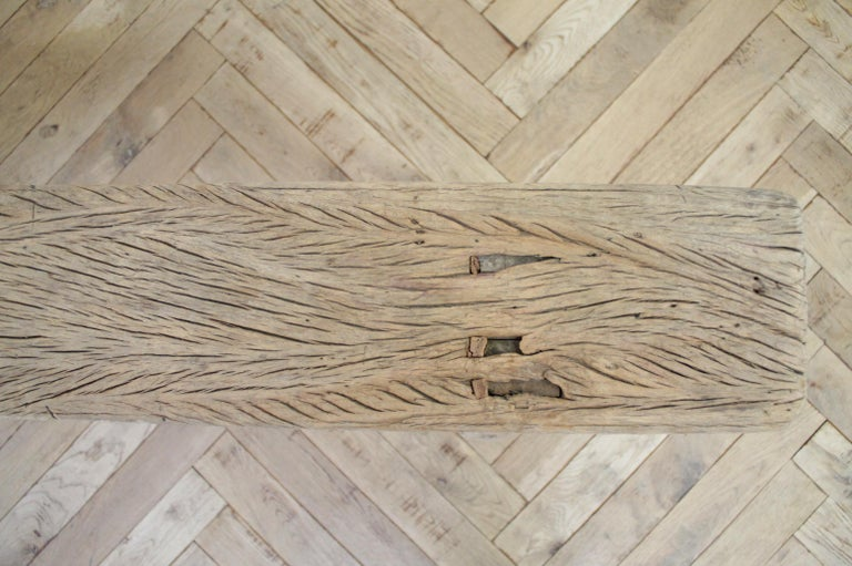 Antique Chinese Elm Wood Bench For Sale 3