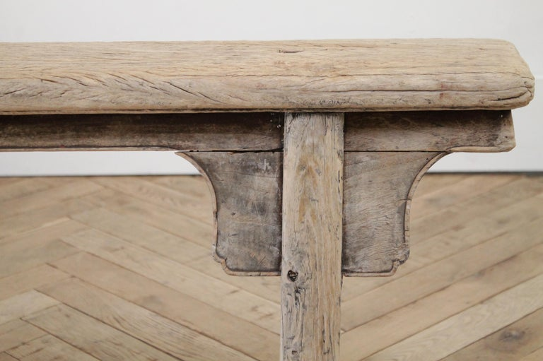 Antique Chinese Elm Wood Bench For Sale 4