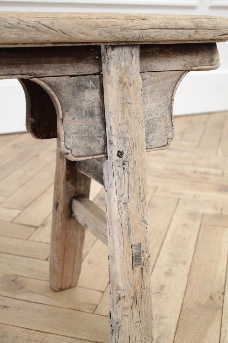 Antique Chinese Elm Wood Bench For Sale 5