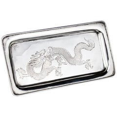 Antique Chinese Elongated Tray with Dragon Scenery