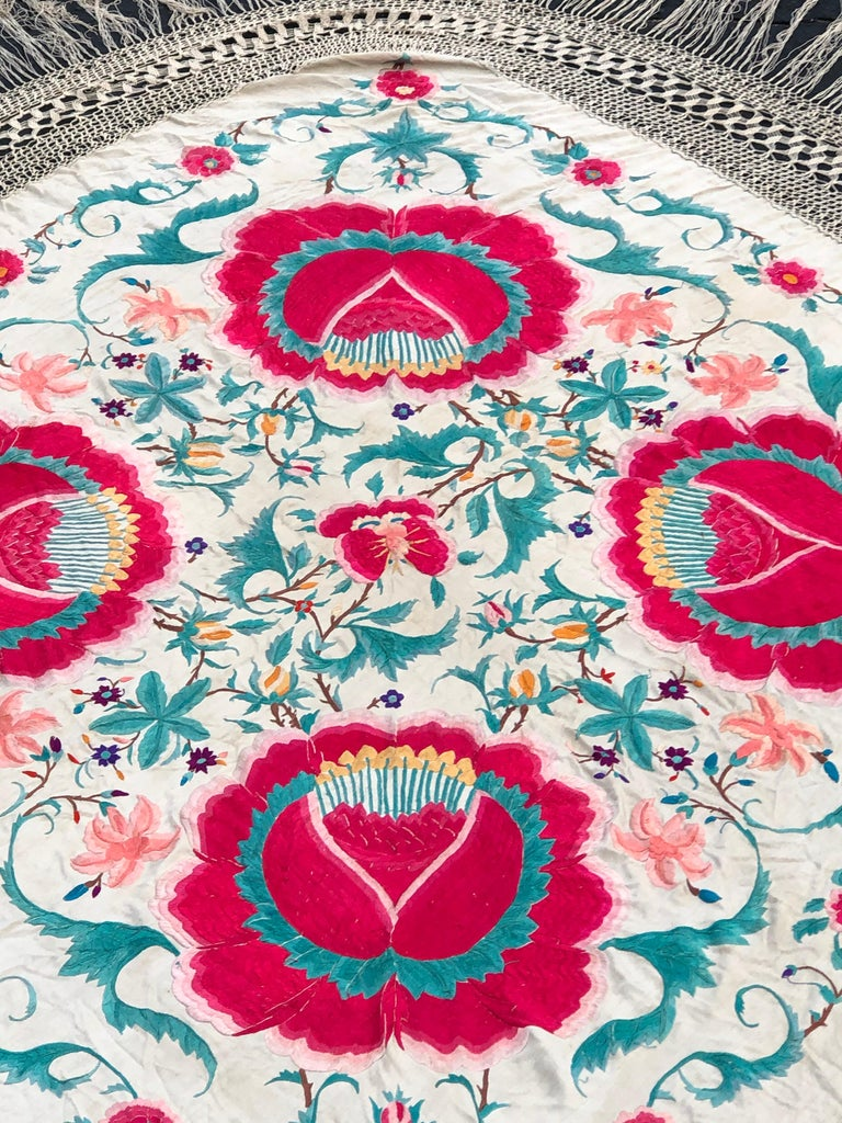 Antique Chinese Embroidered Silk Piano Shawl For Sale 5