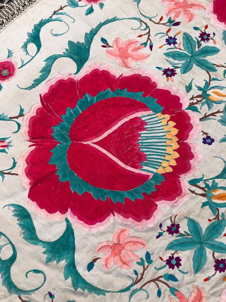 Antique Chinese Embroidered Silk Piano Shawl For Sale 8