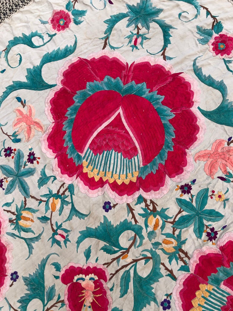 Antique Chinese Embroidered Silk Piano Shawl For Sale 9