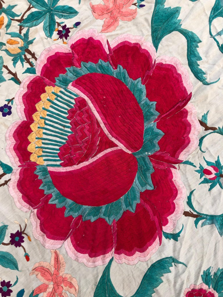 Antique Chinese Embroidered Silk Piano Shawl For Sale 10