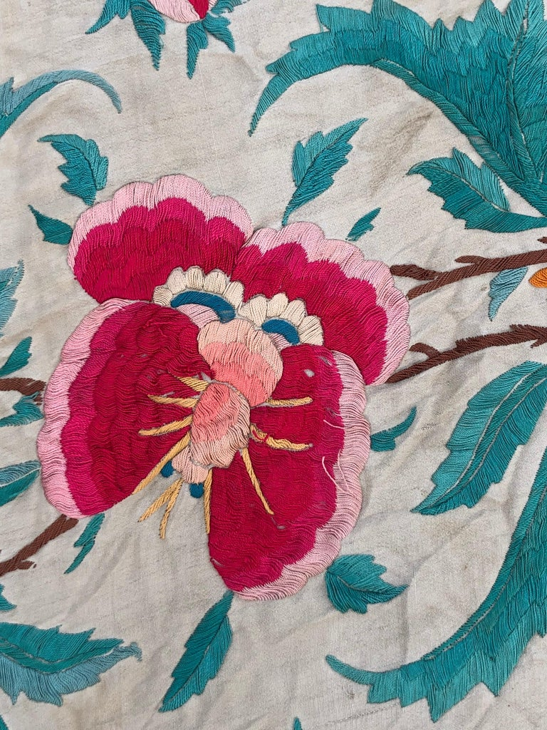 Antique Chinese Embroidered Silk Piano Shawl For Sale 12