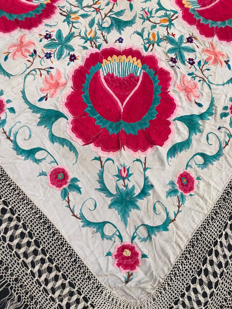 Antique Chinese Embroidered Silk Piano Shawl For Sale 14