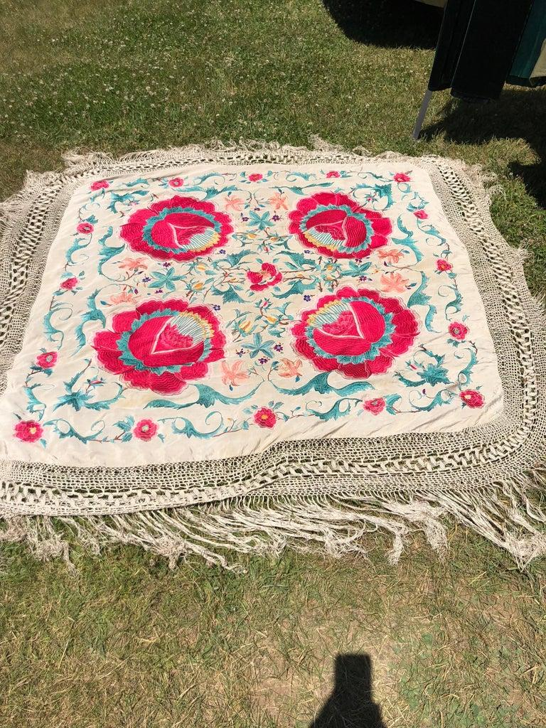 Antique Chinese Embroidered Silk Piano Shawl For Sale 15