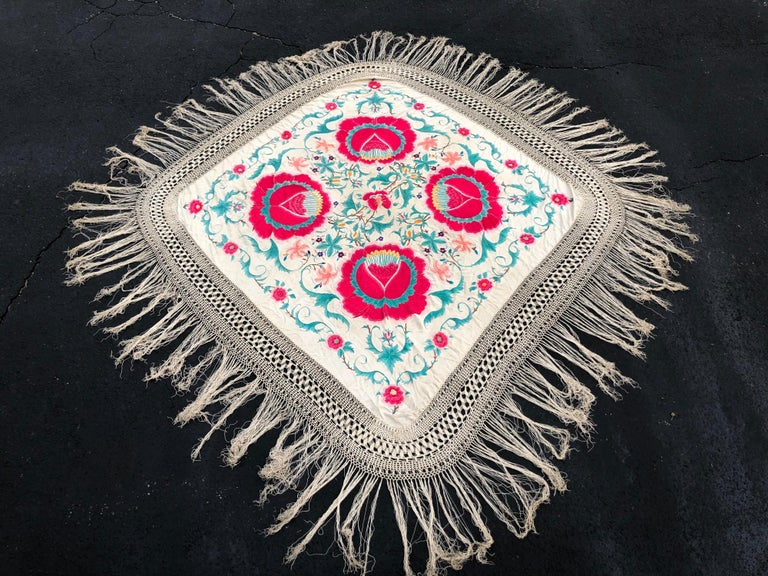 Art Deco Antique Chinese Embroidered Silk Piano Shawl For Sale