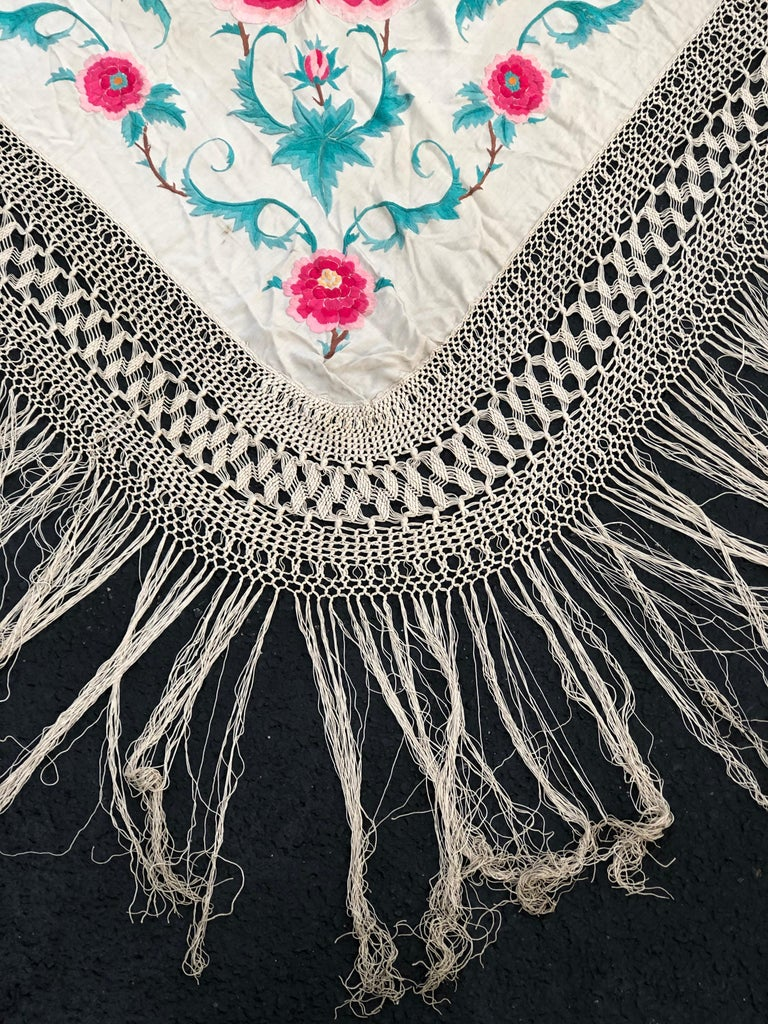 Antique Chinese Embroidered Silk Piano Shawl For Sale 1