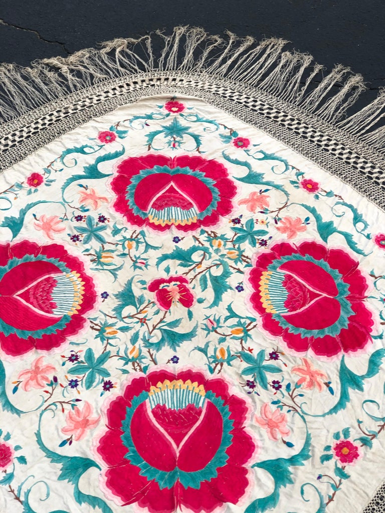 Antique Chinese Embroidered Silk Piano Shawl For Sale 2