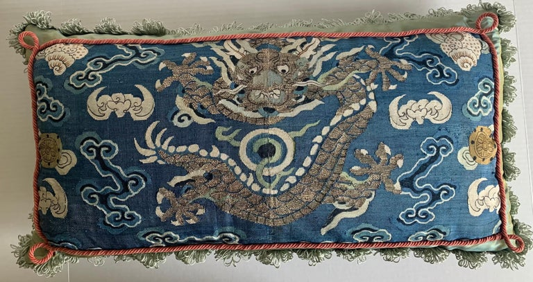 Chinese Export Antique Chinese Embroidered Textile Custom Pillow For Sale