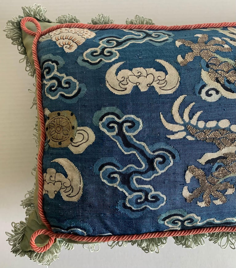 Antique Chinese Embroidered Textile Custom Pillow In Good Condition For Sale In Stamford, CT