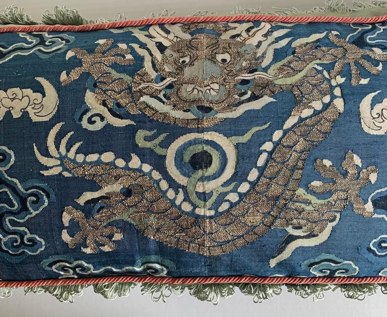 20th Century Antique Chinese Embroidered Textile Custom Pillow For Sale