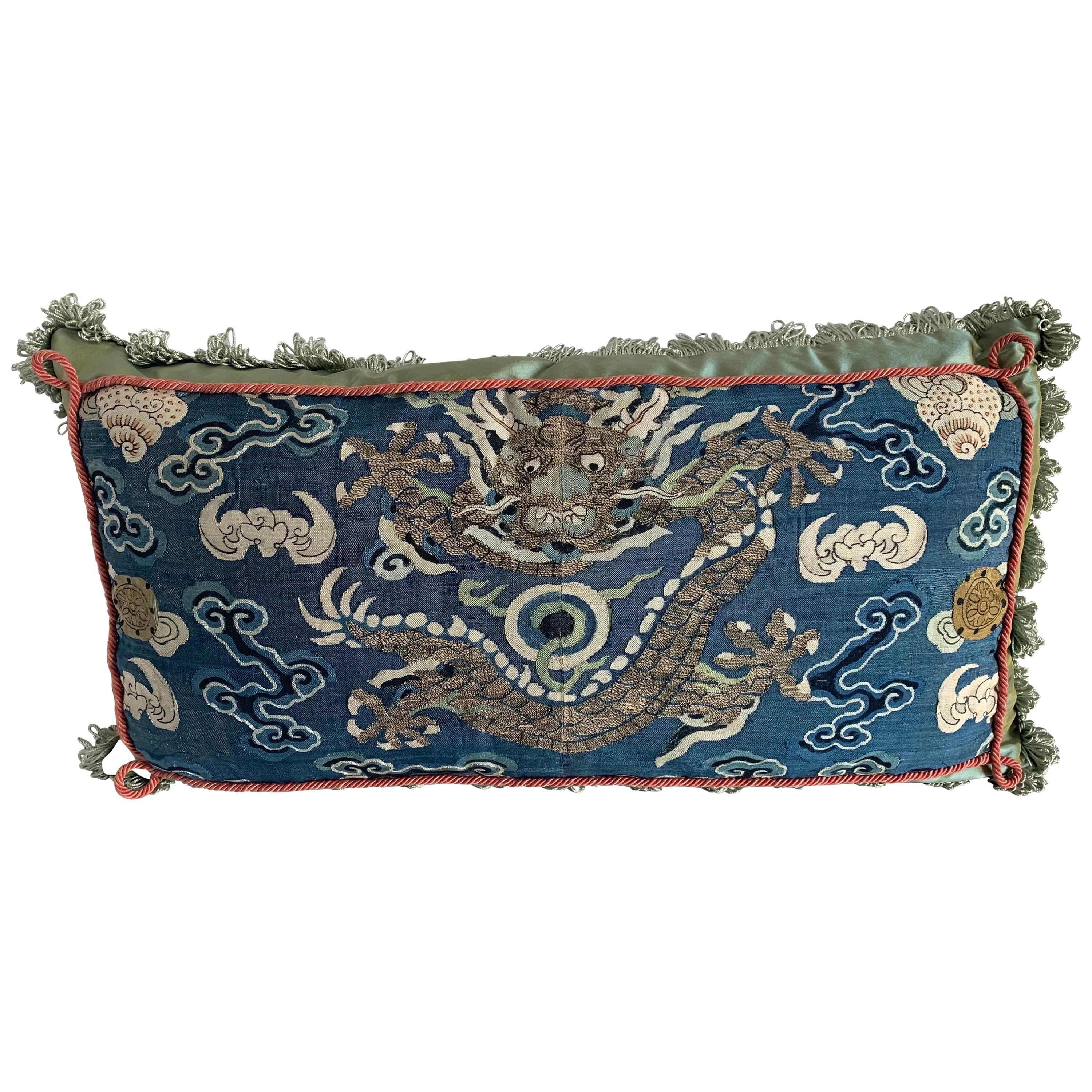 Antique Chinese Embroidered Textile Custom Pillow
