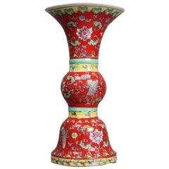 Antique Chinese Enameled Porcelain Vase, Stylized Trumpet Form, 20th Century