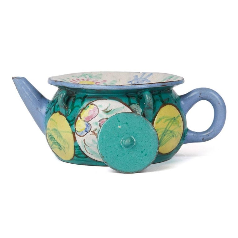 Pottery Antique Chinese Enameled Yixing Teapot, 19th Century For Sale