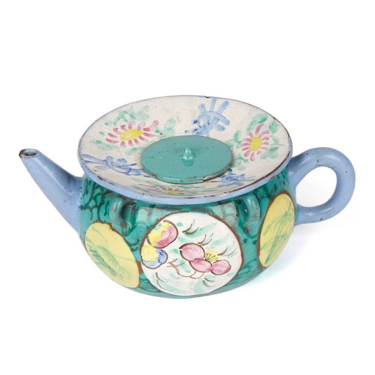 Antique Chinese Enameled Yixing Teapot, 19th Century For Sale 1