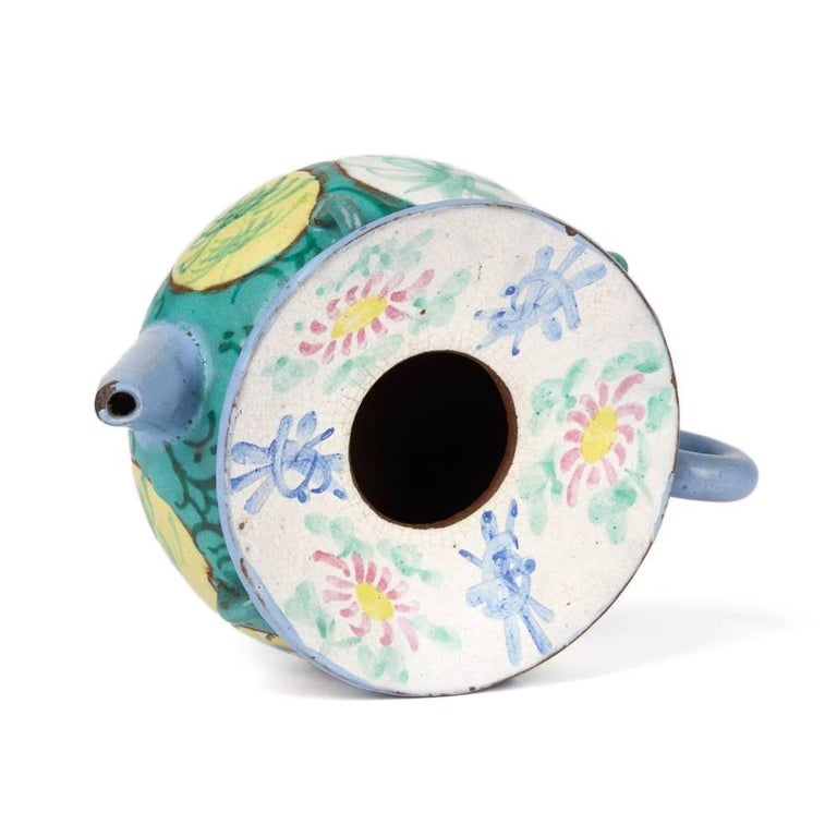 Antique Chinese Enameled Yixing Teapot, 19th Century For Sale 2