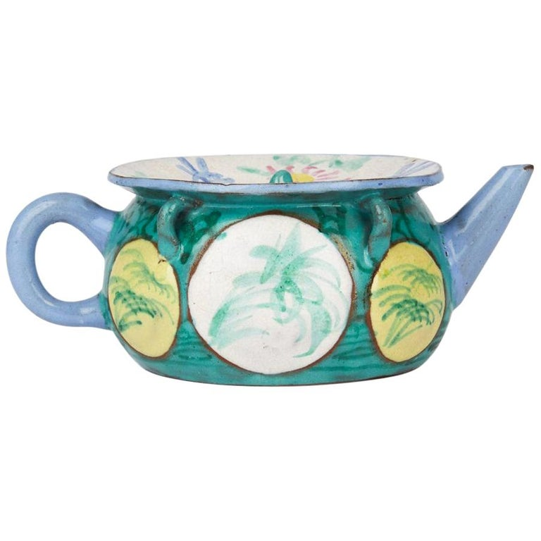 Antique Chinese Enameled Yixing Teapot, 19th Century For Sale