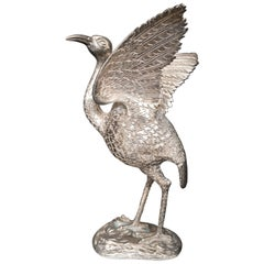 Antique Chinese Engraved Sterling Silver Bird Heron Sculpture Statue Figure 1920