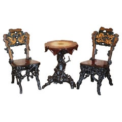 Antique Chinese Export 1920's Root Wood Carved Gilt Occasional Chairs & Table