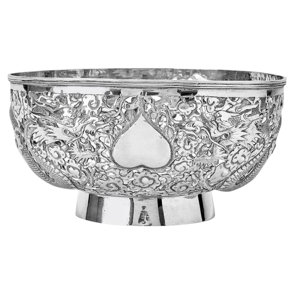 Antique Chinese Export 19th Century Solid Silver Bowl